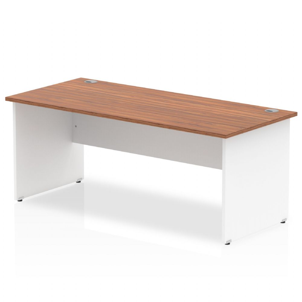 1800mm Rectangular Desk, White Panels, Beech, Maple, Oak & Light Walnut Finish